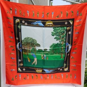 AUTHENTIC GUCCI RED GREEN GOLF THEME LARGE SCARF